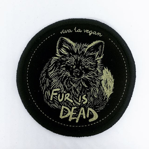 FUR IS DEAD  patch. Vegan Patch. Iron on . Black with gold ink