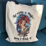 The ocean is magic Organic mermaid tote bag by eco-ethical brand Viva La Vegan