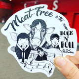 Meatfree is the new rock n roll - vinyl sticker by eco ethical brand Viva La Vegan