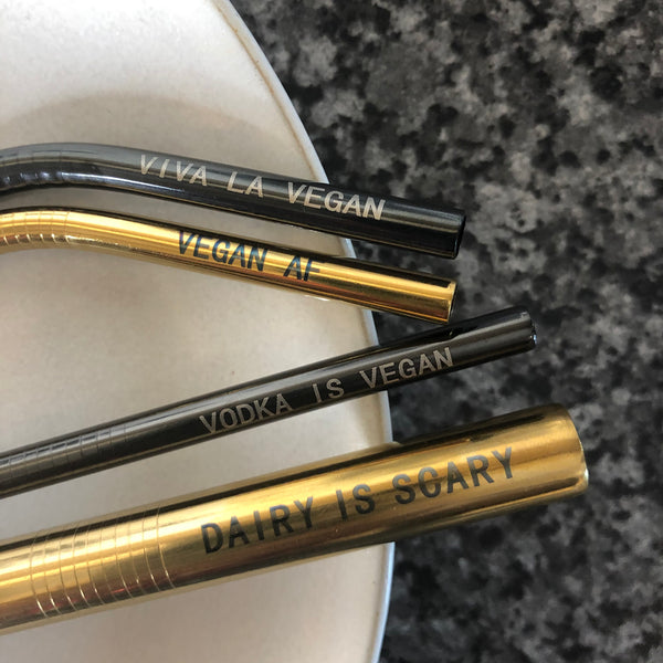 Engraved vegan statement reusable straw set by eco/ ethical brand viva la vegan