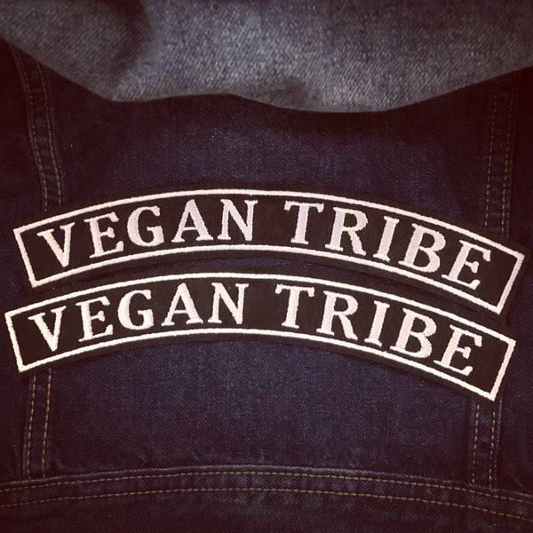 Embroidered Rocker Patch: Vegan Tribe BLACK / WHITE