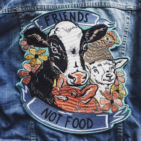 Friends not food embroidered patch. Extra large. By eco-ethical brand Viva La Vegan