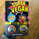 Badge Pack x 4 Set 38mm: Vegan Power