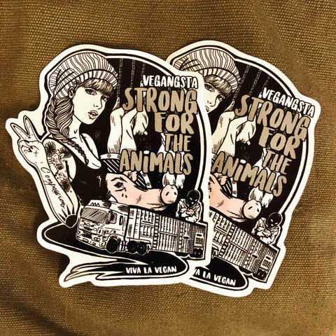 Vegan sticker: Strong For The Animals, sold by ethical fashion brand Viva La Vegan.