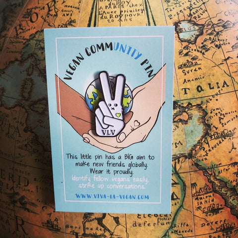 VEGAN commUNITY pin badge, sold by ethical fashion brand Viva La Vegan.