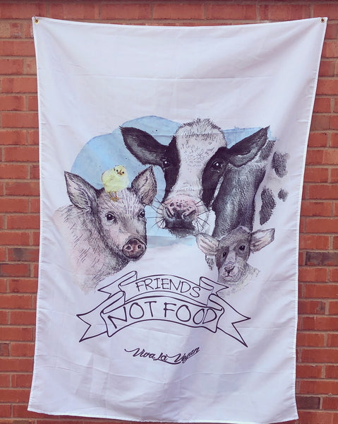 friends not food statement flag, sold by ethical fashion brand Viva La Vegan.