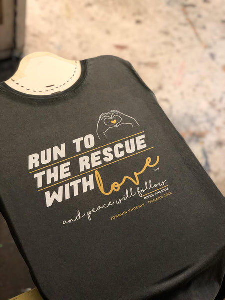 """Run to the rescue with love"" organic tshirt by eco-ethical brand Viva La Vegan"