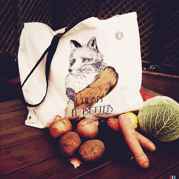 1.Bag: I wear It Better 'Anti Fur' Canvas Diana Shopper. 43cm  x 37cm with a 10cm gusset