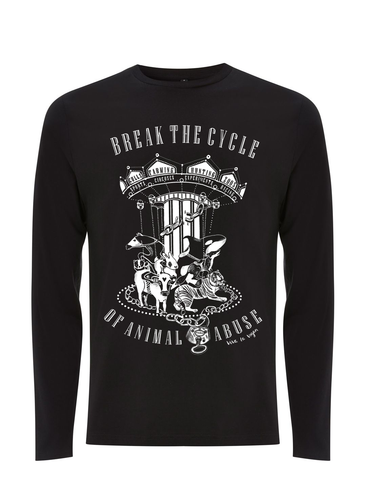 Break The Cycle of Animal Abuse Uni Sex T-shirt LONGSLEEVE by eco ethical brand Viva La Vegan
