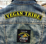 Vegan rocker patch large, sold by ethical fashion brand Viva La Vegan.