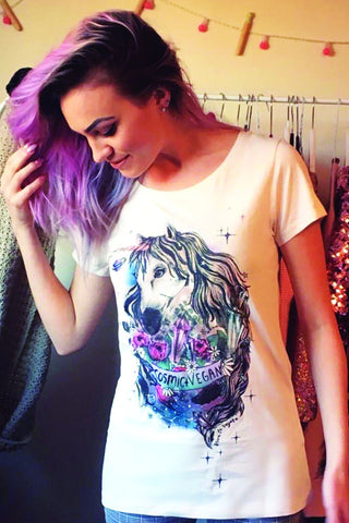 cosmic vegan tshirt, sold by ethical fashion brand Viva La Vegan.