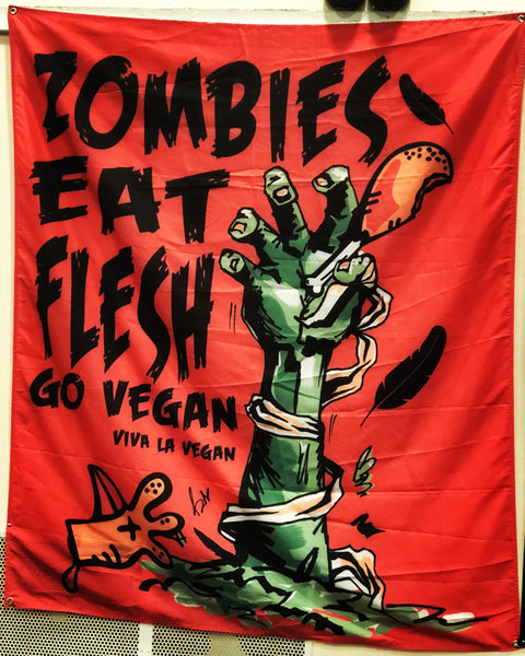 zombies eat flesh statement flag, sold by ethical fashion brand Viva La Vegan.