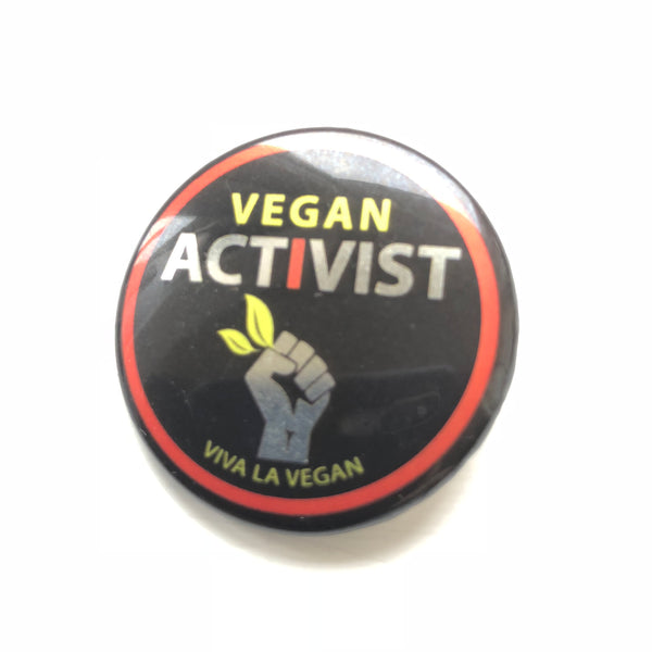 Vegan Activist badge, sold by ethical fashion brand Viva La Vegan.