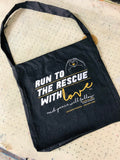 Run to the rescue with love - Joaquin Phoenix quote tote bag by eco-ethical brand viva la vegan