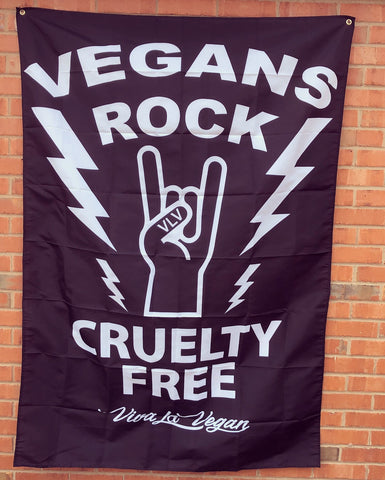 vegans rock statement flag, sold by ethical fashion brand Viva La Vegan.