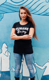 Vegan tshirt. Humane being ladies fit black