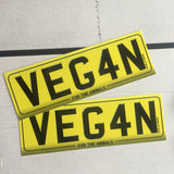 Vegan window sticker / car sticker. Vegan Number Plate