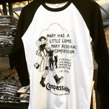 Mary Had A little Lamb Baseball T-shirt, sold by ethical fashion brand Viva La Vegan.