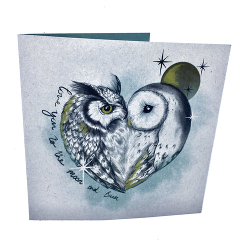 love you to the moon and back greetings card, sold by ethical fashion brand Viva La Vegan.
