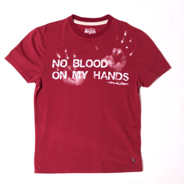 no blood on my hands tshirt, sold by ethical fashion brand Viva La Vegan.