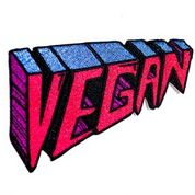 Embroidered Vegan patch in pink, purple, blue. Iron on