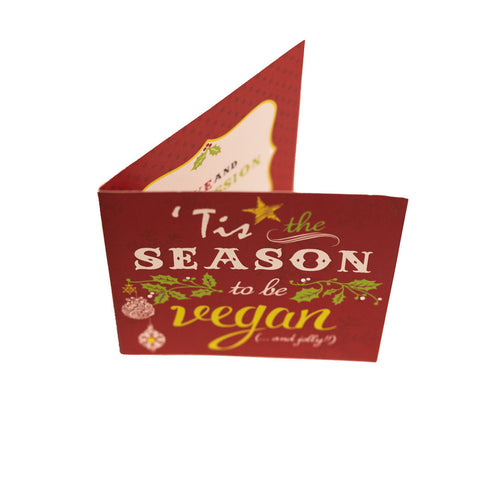 Vegan christmas card red, sold by ethical fashion brand Viva La Vegan.