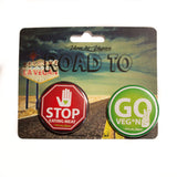 traffic light badge set, sold by ethical fashion brand Viva La Vegan.