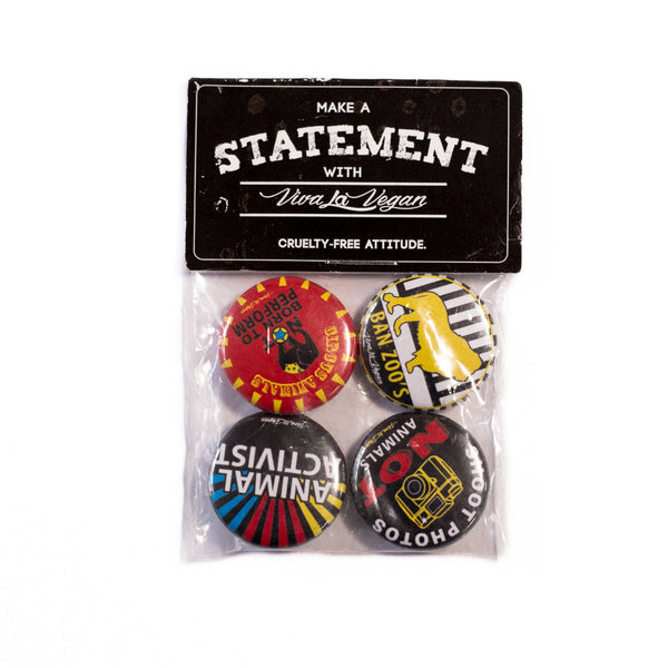 mixed animal activist badge set, sold by ethical fashion brand Viva La Vegan.