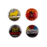 Badge Pack x 4 Set: Mixed Animal Activist