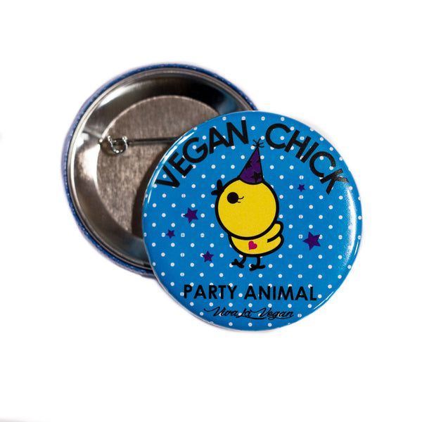 vegan chick badge, sold by ethical fashion brand Viva La Vegan.