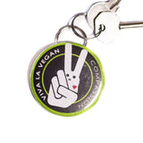 viva la vegan logo bottle opener keyring, sold by ethical fashion brand Viva La Vegan.