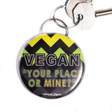 your place or mine bottle opener keyring, sold by ethical fashion brand Viva La Vegan.