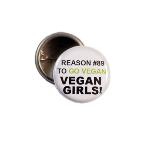 Vegan girls badge, sold by ethical fashion brand Viva La Vegan.