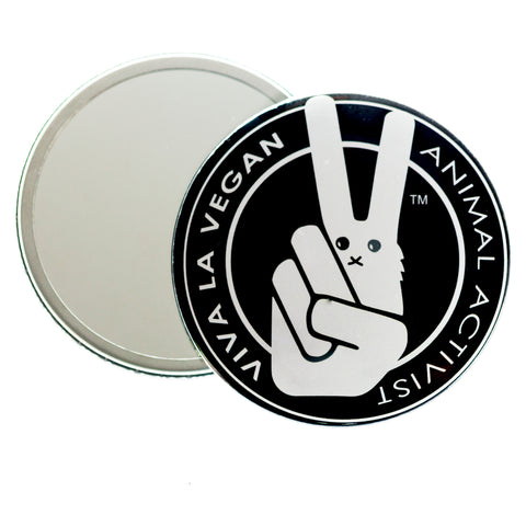 animal activist pocket mirror, sold by ethical fashion brand Viva La Vegan.