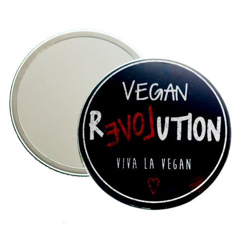 Vegan Love Revolution pocket mirror, sold by ethical fashion brand Viva La Vegan.