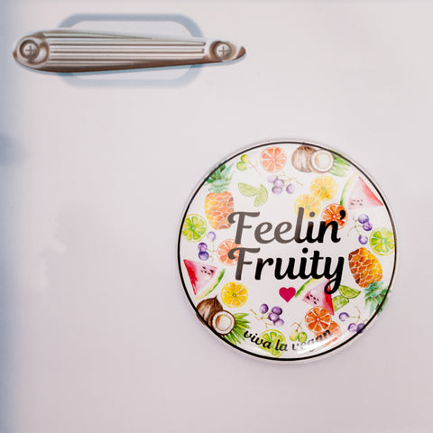 Vegan fridge magnet feeling fruity, sold by ethical fashion brand Viva La Vegan.