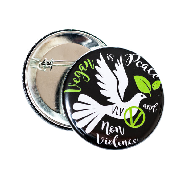 Vegan Badge. 58mm Vegan Is Peace