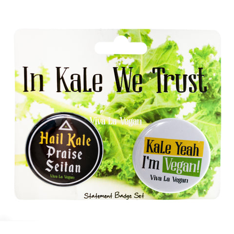 in kale we trust badge set, sold by ethical fashion brand Viva La Vegan.