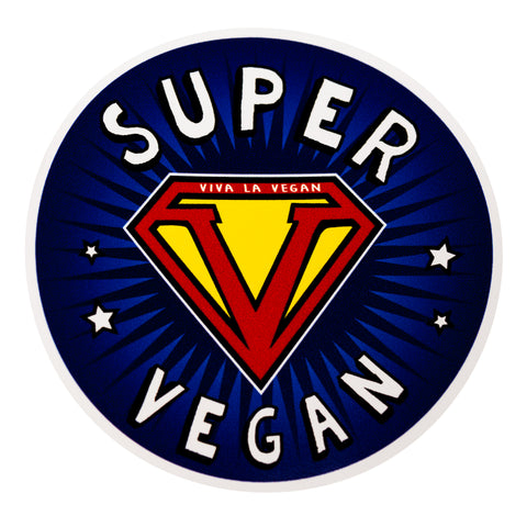 Super Vegan Vinyl Sticker, sold by ethical fashion brand Viva La Vegan.