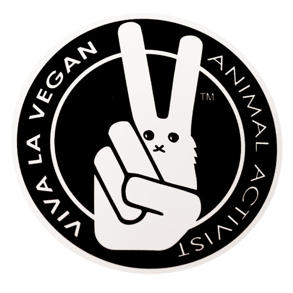 Vegan Sticker: VLV signature bunny. Animal Activist, sold by ethical fashion brand Viva La Vegan.