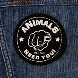 Printed Patch Round - The Animals Need YOU