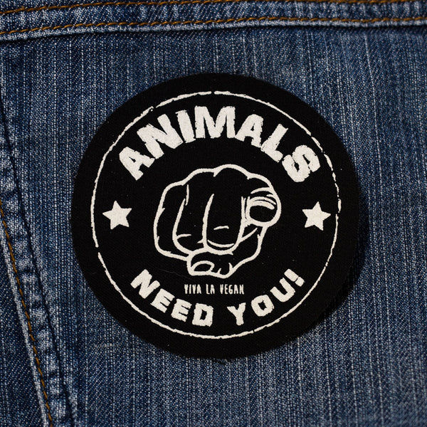 the animals need you patch, sold by ethical fashion brand Viva La Vegan.
