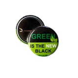 Green is the new black badge, sold by ethical fashion brand Viva La Vegan.