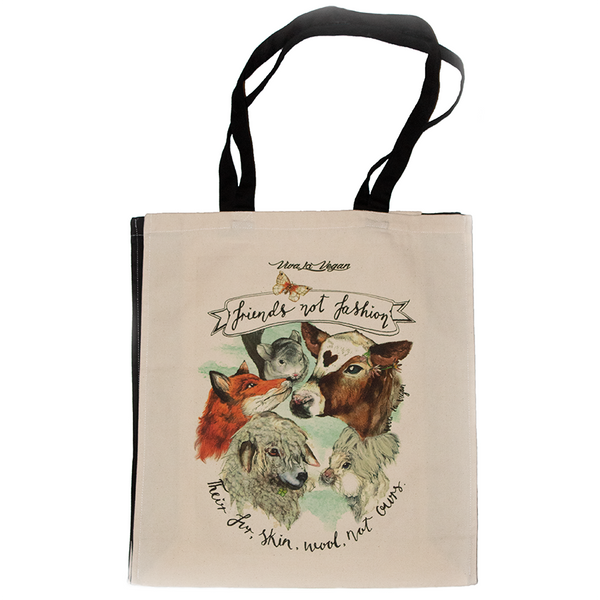 friends not fashion tote bag, sold by ethical fashion brand Viva La Vegan.