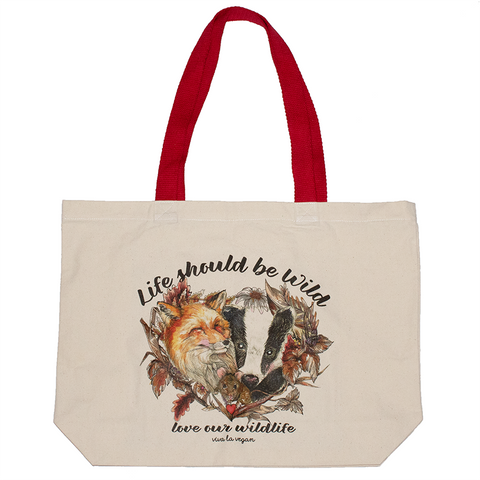 Life should be wild tote bag, sold by ethical fashion brand Viva La Vegan.