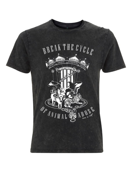 Break The Cycle of Animal Abuse Uni Sex T-shirt by eco ethical brand Viva La Vegan