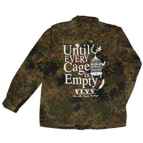 reworked army surplus jacket with Until Every Cage Is Empty print on the back by eco ethical brand Viva La Vegan