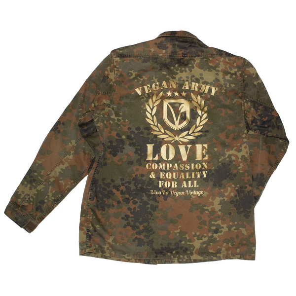 reworked army surplus jacket with Vegan Army print (gold) on the back by eco ethical brand Viva La Vegan