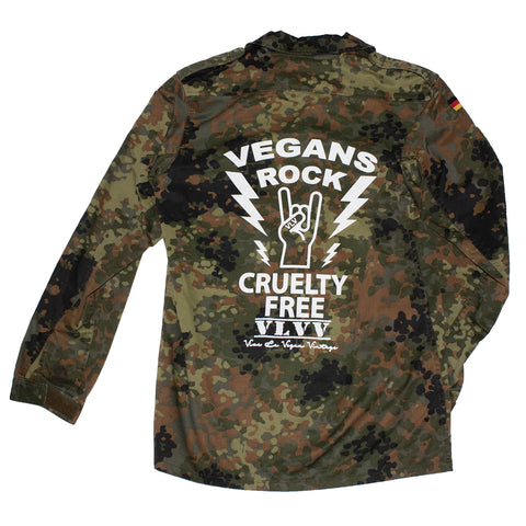 reworked army surplus jacket with Vegans Rock print on the back by eco ethical brand Viva La Vegan