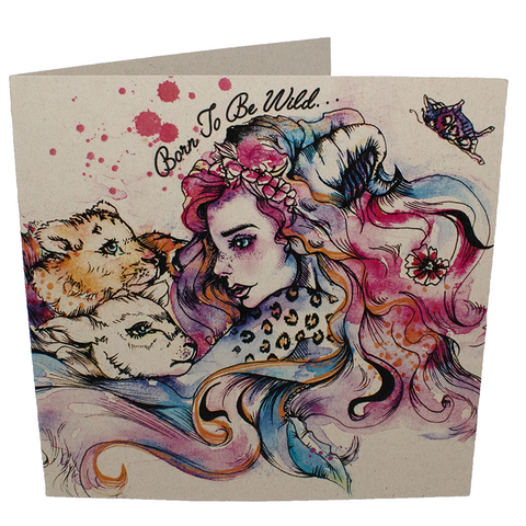 Vegan greetings card: Born To Be Wild, sold by ethical fashion brand Viva La Vegan.